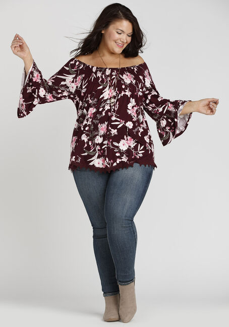 Ladies' Floral Bardot Top, BURGUNDY, hi-res