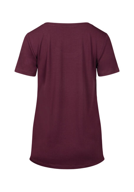 Women's Drapey Scoop Neck Tee, BURGUNDY, hi-res