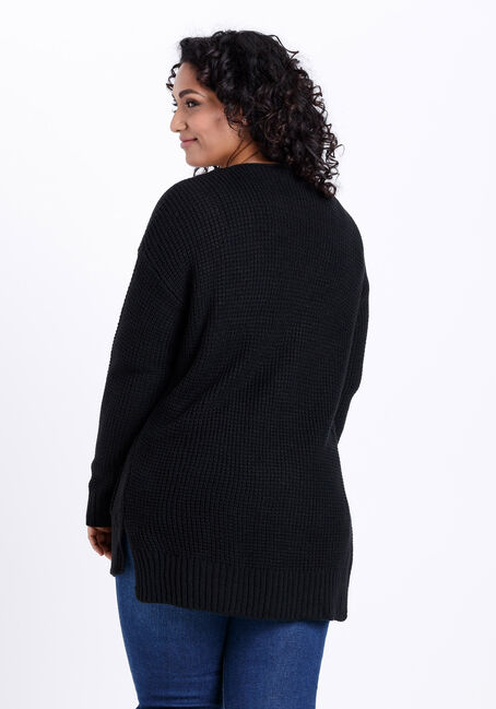 Women's Textured Stitch Cardigan, BLACK, hi-res
