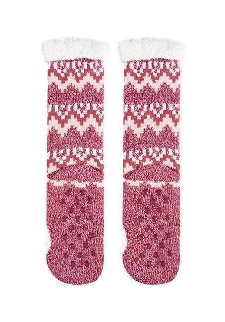 Women's Fox Slipper Socks, MEDIUM PINK, hi-res