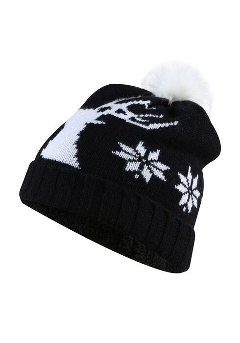 Women's Nordic Deer Hat, BLACK, hi-res