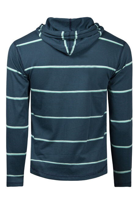 Men's Mini Stripe Hooded Tee, TRUE NAVY, hi-res