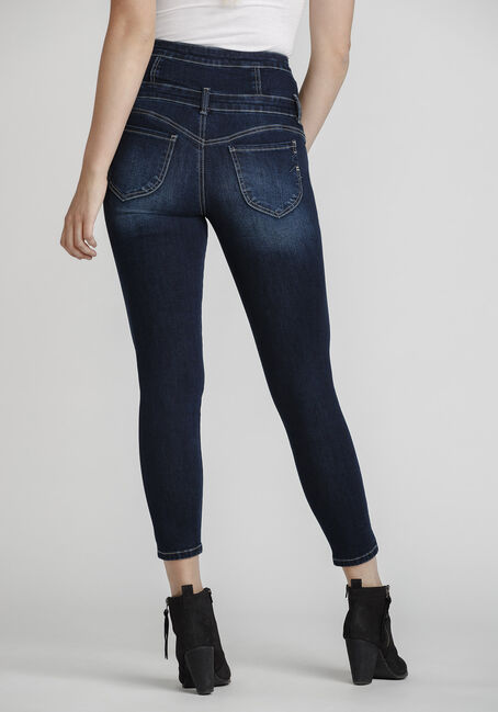Women's High Rise Stacked Waistband Skinny Jeans, DARK WASH, hi-res