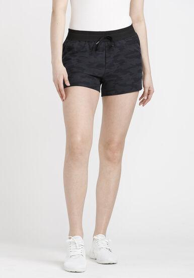 Women's Camo Print Hybrid Short, BLACK, hi-res