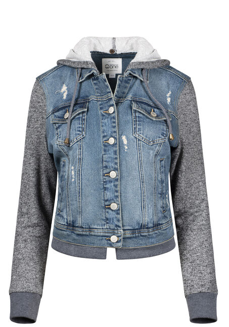 Women's Knit Sleeve Vintage Jean Jacket