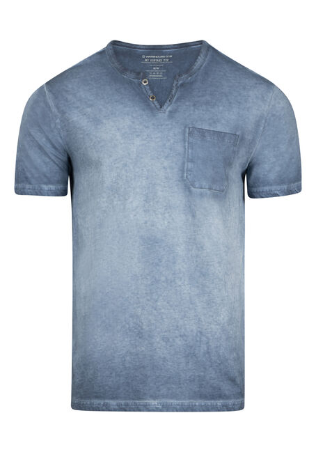 Men's Vintage Washed Split V-Neck Tee
