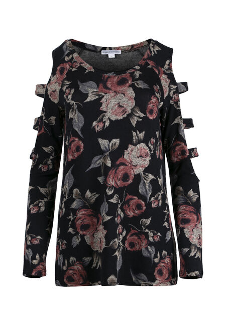 Women's Floral Ladder Sleeve Top