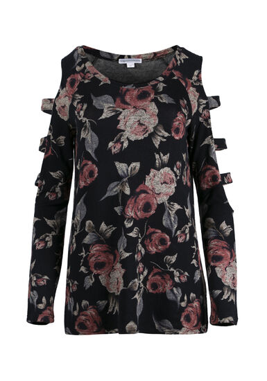 Women's Floral Ladder Sleeve Top, NAVY, hi-res