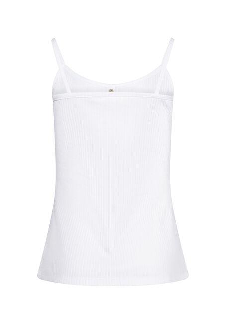 Women's Faux Henley Rib Tank, WHITE, hi-res