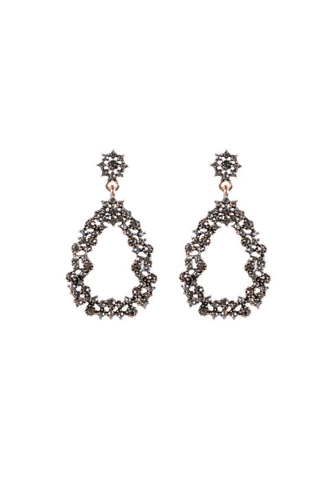 Ladies' Rhinestone Earring, GOLD, hi-res