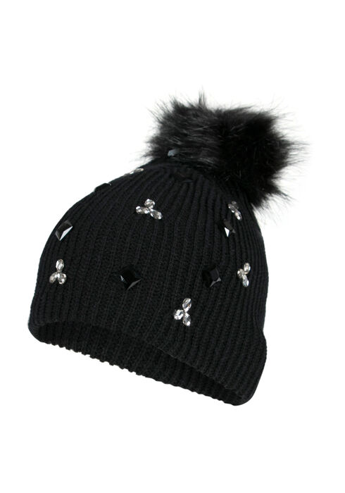 Ladies' Rhinestone Pom Pom Hat, BLACK, hi-res