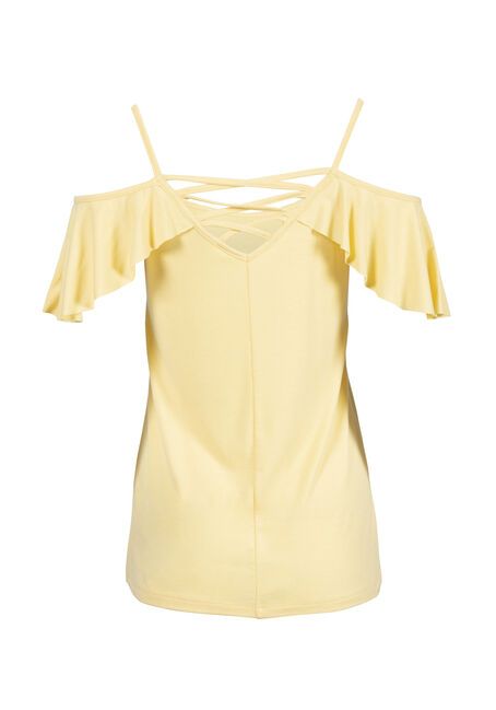 Women's Cage Back Cold Shoulder Tee, LEMON, hi-res