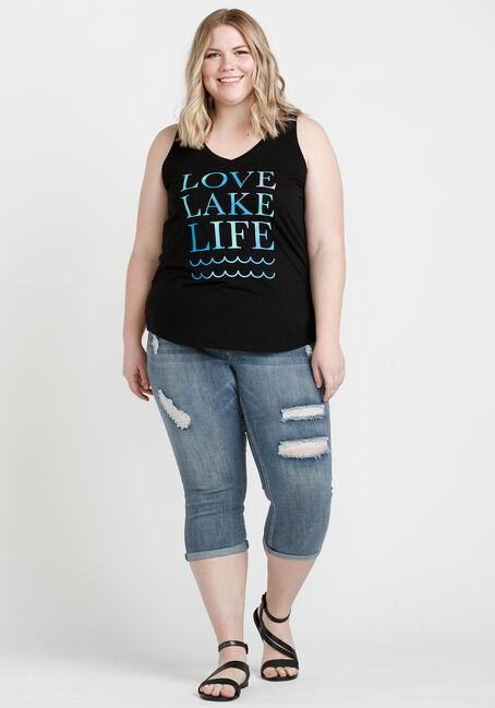 Women's Lake Life V Neck Tank, BLACK, hi-res