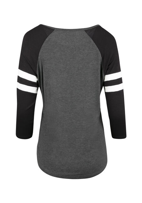 Ladies' Mesh Football Tee, CHAR/BLK/WHT, hi-res