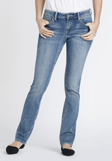 Women's Light Wash High Rise Straight Jeans, MEDIUM WASH, hi-res