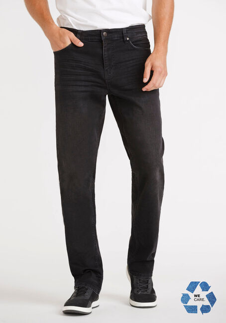 Men's Washed Black Slim Straight Jeans