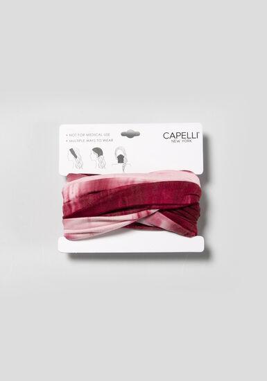 Women's Tie Dye Multiwear Headwrap, RED, hi-res