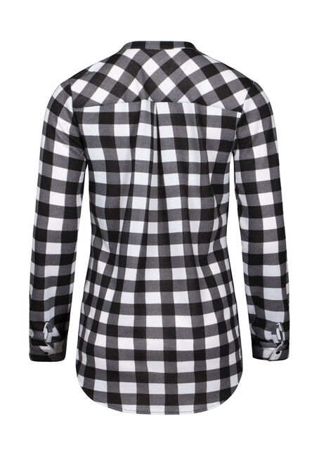 Women's Lace Up Knit Plaid Tunic Shirt, BLACK, hi-res