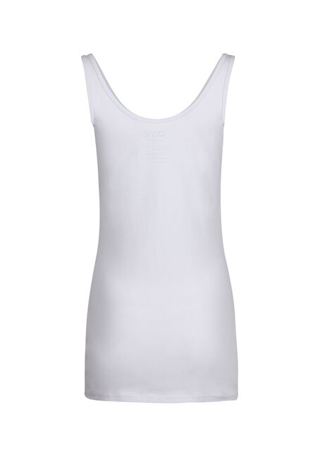 Ladies' Double Scoop Tunic Tank, WHITE, hi-res