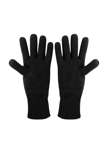 Men's Thermal Gloves, BLACK, hi-res