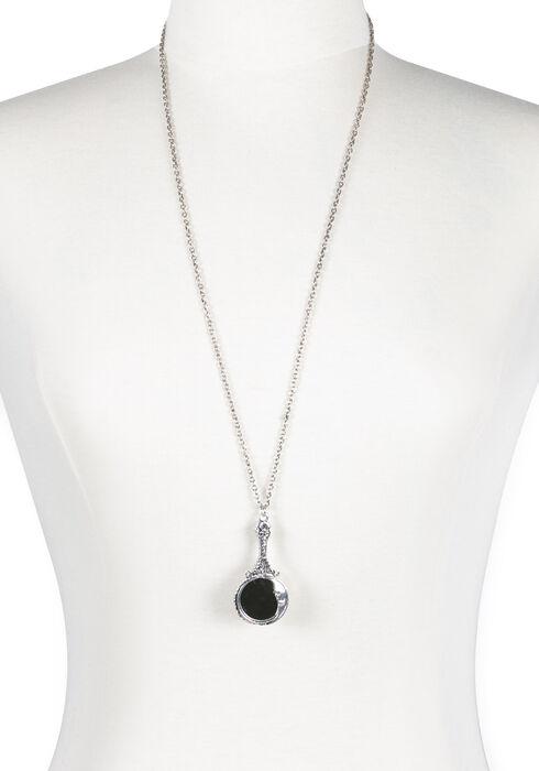 Women's Moon Mirror Necklace, RHODIUM, hi-res