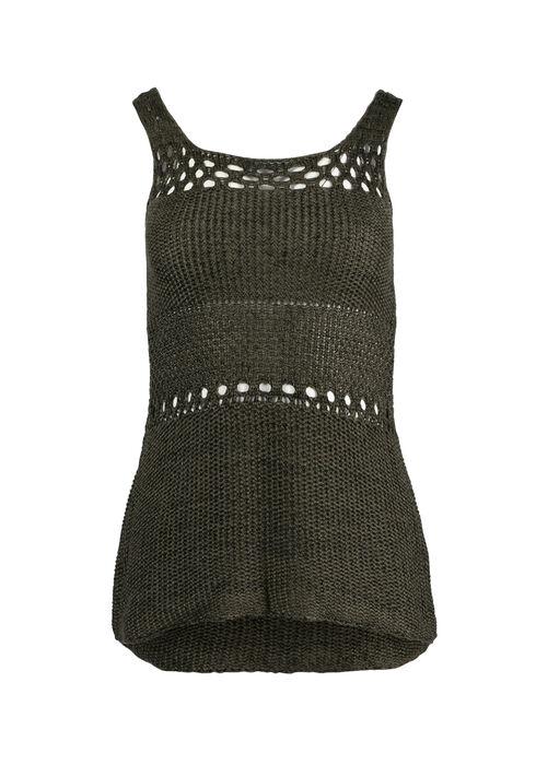 Women's Sweater Tank, OLIVE/BLACK, hi-res