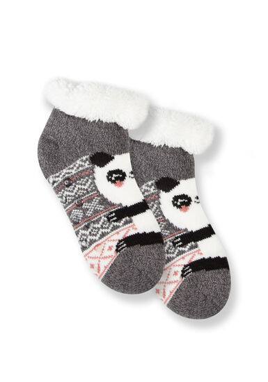 Women's Panda Slipper Socks, GREY, hi-res