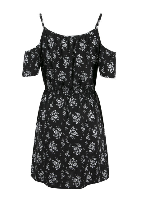 Ladies' Floral Cold Shoulder Dress, BLK/WHT FLORAL, hi-res