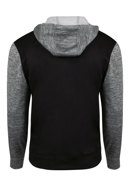 Men's Colour Block Hoodie, BLACK, hi-res