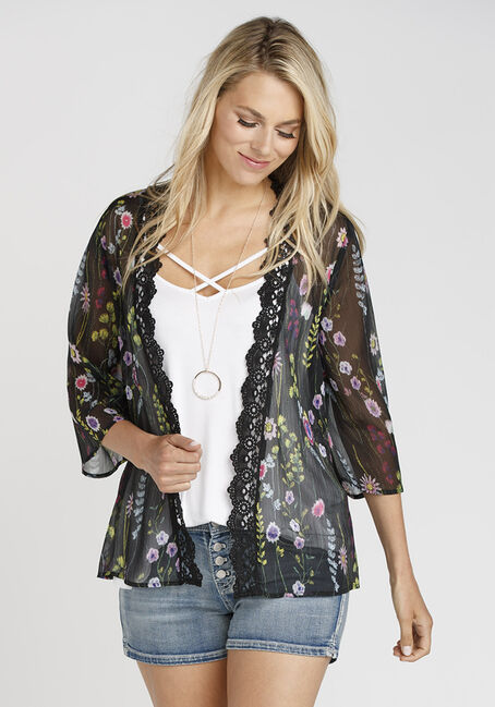 Ladies' Crochet Trim Kimono, BLACK, hi-res