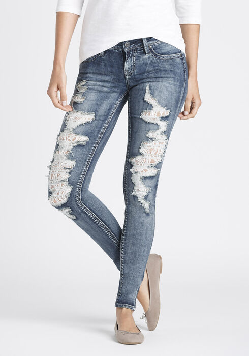 Ladies' Destroyed Lace Skinny Jeans, MEDIUM WASH, hi-res