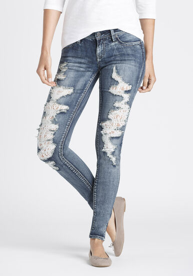 Women's Destroyed Lace Skinny Jeans, MEDIUM WASH, hi-res