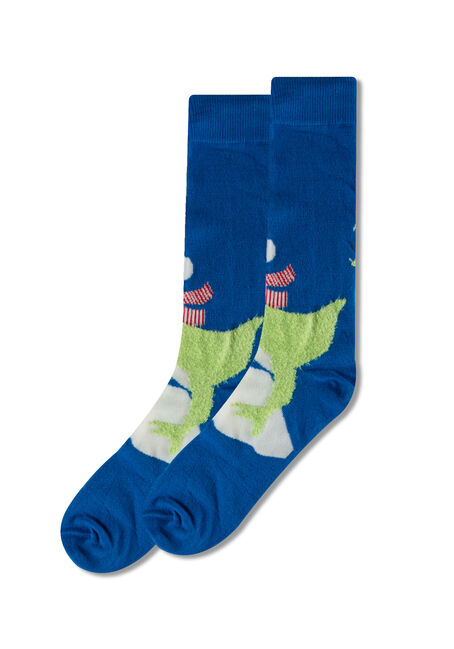 Men's  Festive T-Rex Socks, BLUE, hi-res