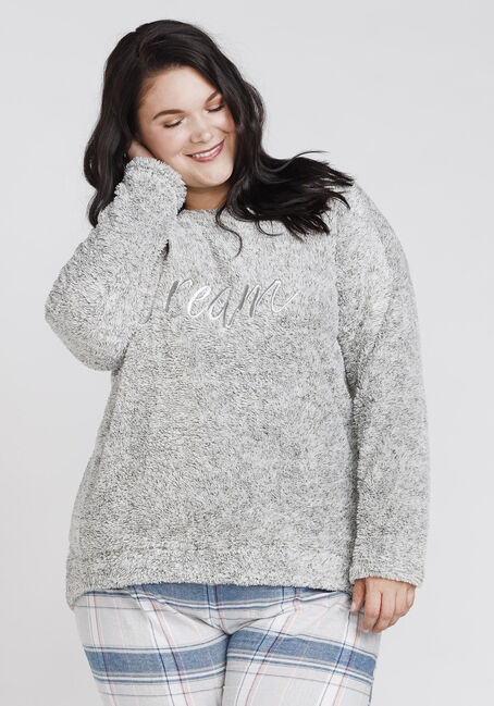 Women's Dream Teddy Bear Fleece, GREY, hi-res