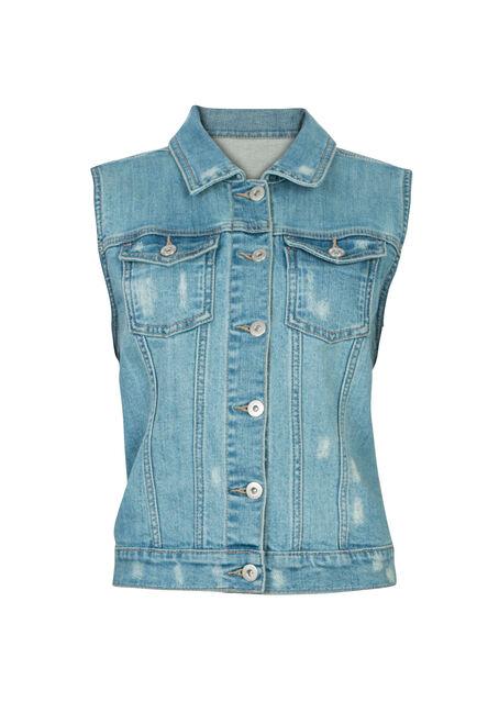 Ladies' Bleach Wash Lace Back Jean Vest