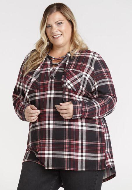 Women's Lace Up Knit Plaid Tunic Shirt