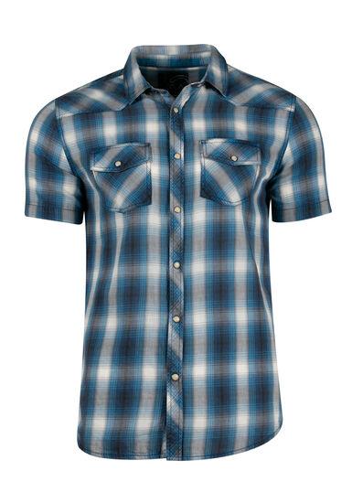 Men's Washed Plaid Shirt, BLUE, hi-res
