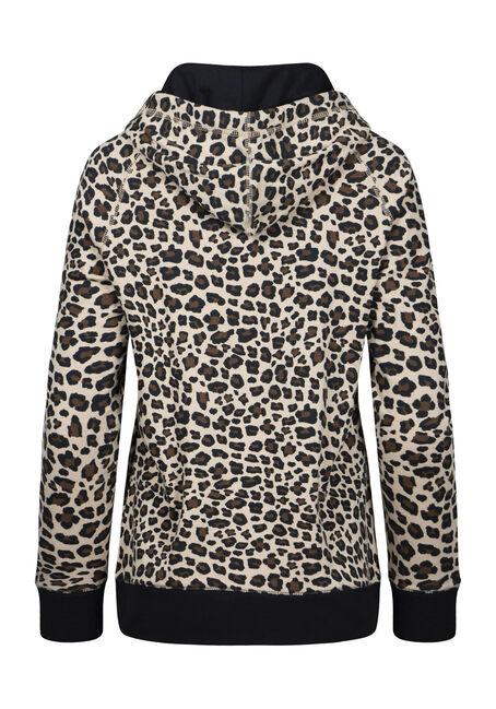 Women's Leopard Print Hoodie, BROWN, hi-res
