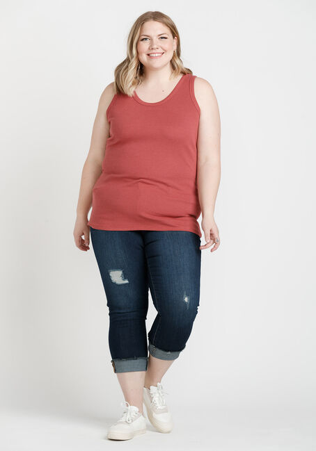 Women's Rib Knit Tank Top, SIENNA, hi-res