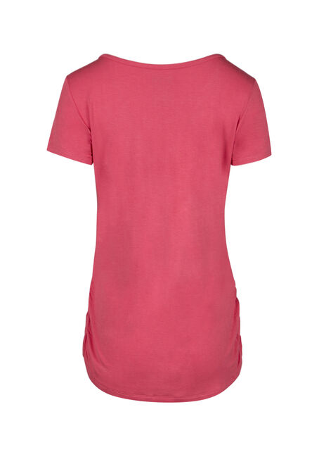 Ladies' Cage Neck Ruched Side Tee, CORAL, hi-res