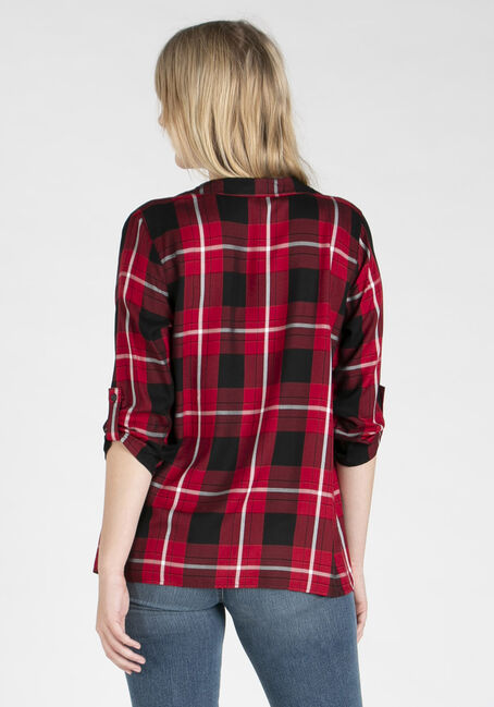 Women's Plaid Cardigan, RED/BLACK, hi-res