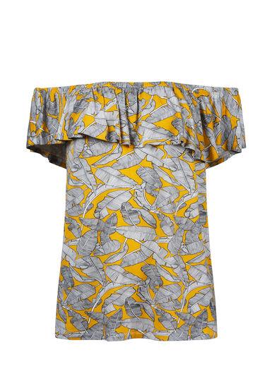 Women's Leaf Print Bardot Top, MUSTARD, hi-res