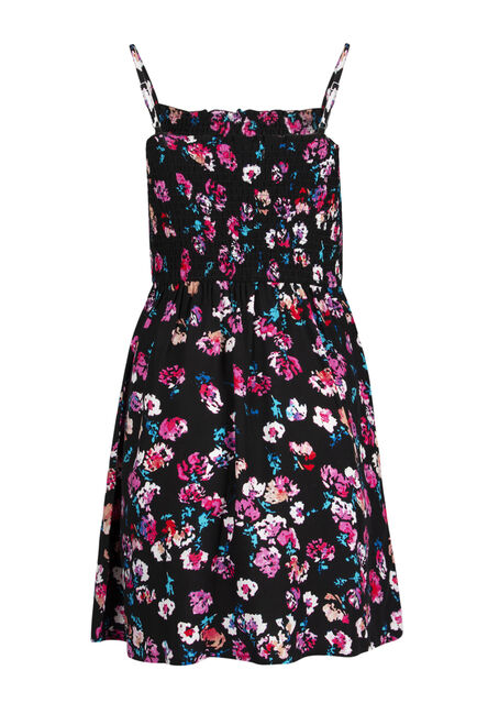 Ladies' Floral Smocked Dress, BLACK FLORAL, hi-res