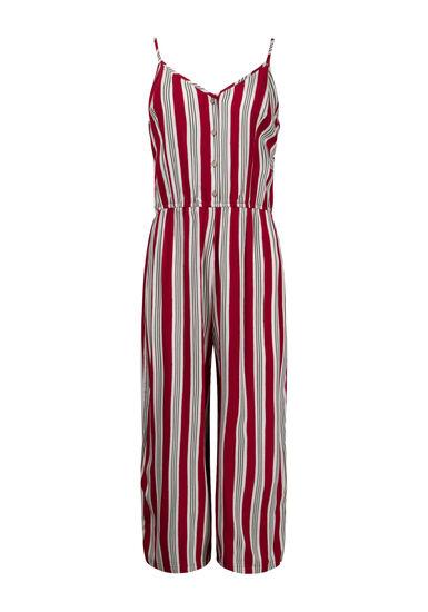 Women's Striped Tie Jumpsuit, RED, hi-res