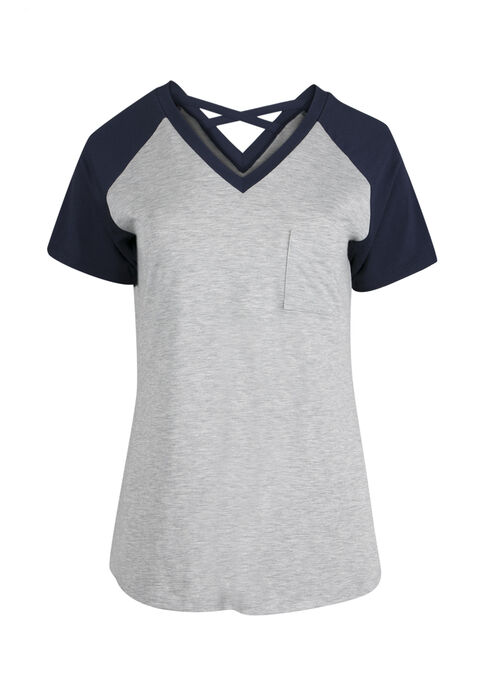 Ladies' Cross Back Baseball Tee, HGREY/ECLIPSE, hi-res