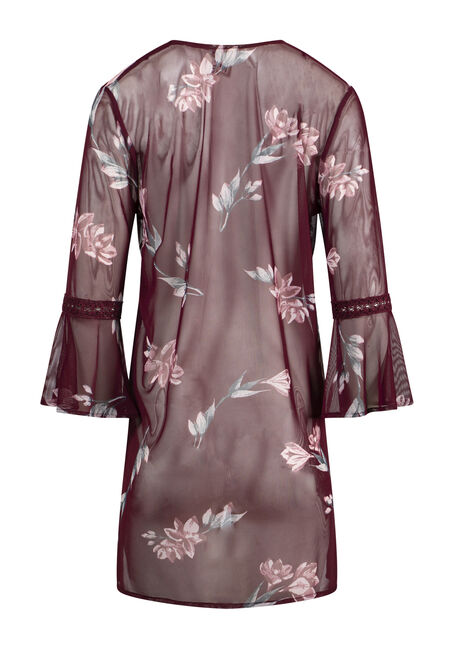 Women's Floral Mesh Bell Sleeve Kimono, CINNAMON, hi-res