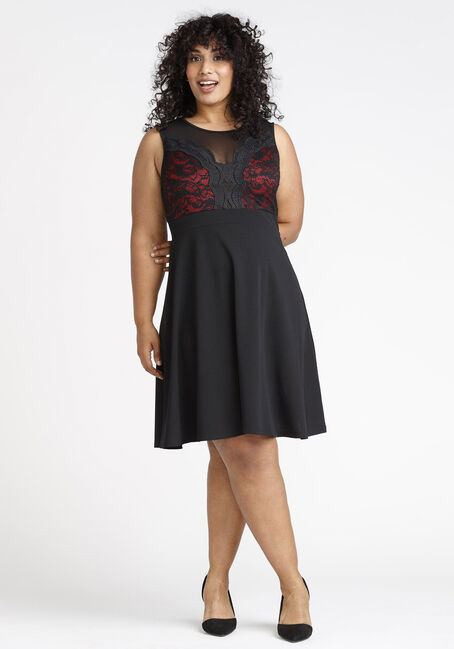 Women's Lace Sweetheart Dress, BLACK, hi-res