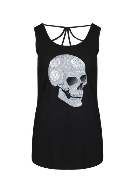 Women's Floral Skull Cage Back Tank