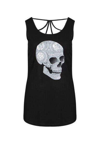 Women's Floral Skull Cage Back Tank, BLACK, hi-res
