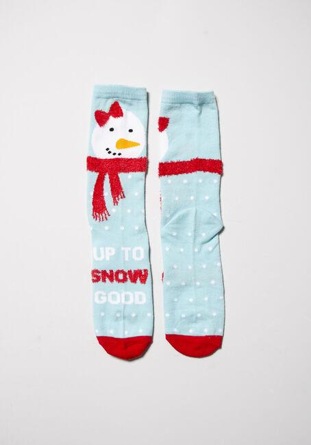 Women's Holiday Crew Socks, BLUE, hi-res
